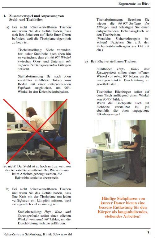 Praxisbeispiel Ergonomie Am Arbeitsplatz Schömberg Reha Zentrum